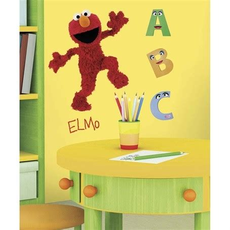 Elmo Room Decorating Ideas by Sesame Elmo Removable Wall Decals Mural Abc School