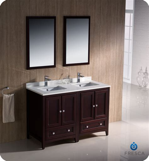 fresca oxford 48 quot double sink bathroom vanity mahogany finish