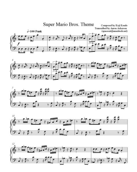 theme music mari lisa s free stuff free super mario bros theme sheet music