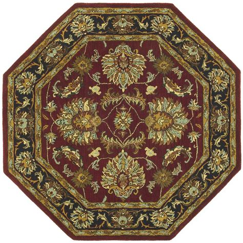 octagonal rug st croix trading made wool traditional burgundy agra 8x8 octagon rug 169222 rugs at