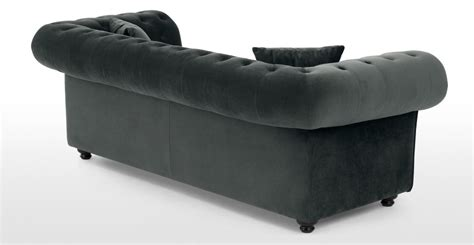 grey velvet chesterfield sofa branagh 2 seater chesterfield sofa midnight grey velvet