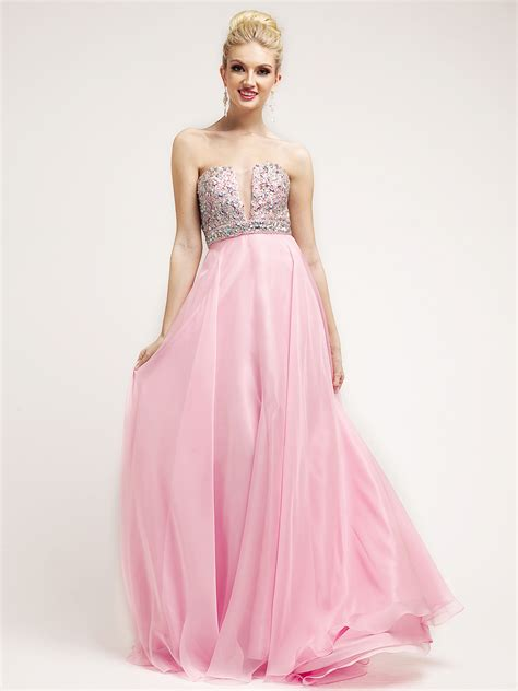 Baby Avail Pink Skirt baby pink beaded v neckline empire waist prom dress