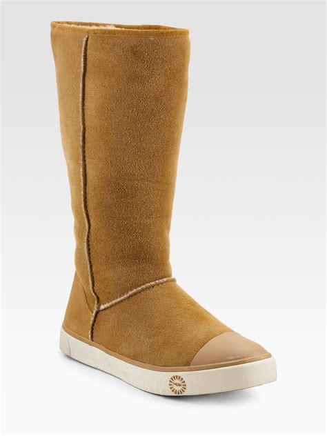 ugg delaine sheepskin sneaker boots in lyst