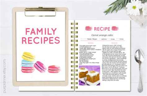 recipe card template indesign watercolor recipe template printable cook book editable
