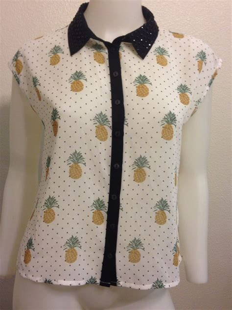 new chiffon pineapple fruit polka dot rhinestone retro