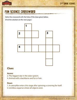 fun science crossword free 3rd grade science worksheets