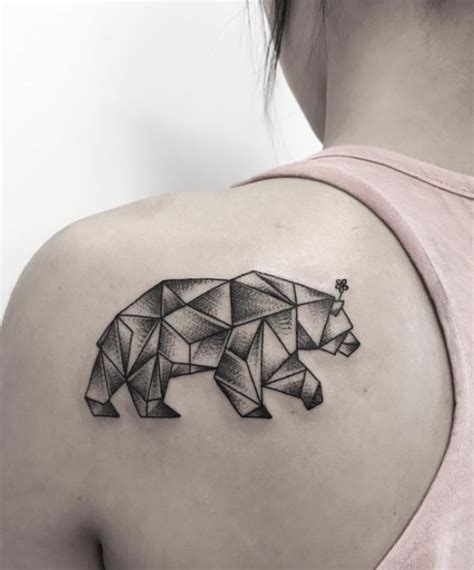 geometric bear tattoo 80 beautiful back shoulder tattoo designs tattooblend