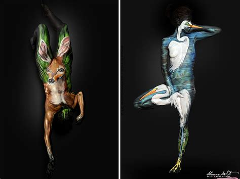 artist masterfully turns humans into animals using body
