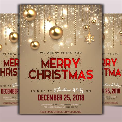 merry christmas flyer template template     pngtree
