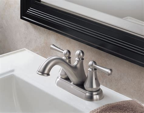Delta Faucet Support by 25999lf Ss Two Handle Centerset Lavatory Faucet