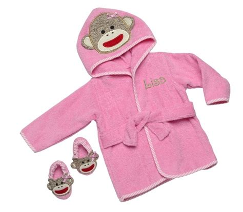 toddler bathrobe and slippers personalized infant pink baby sock monkey bath robe