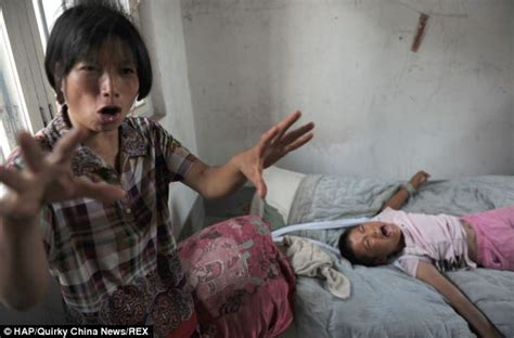 shocking images of chinese girl 12 tied to her bed by