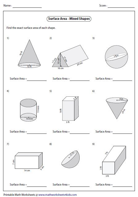Area Of Shapes Worksheet by Surface Area And Volume Worksheets Lesupercoin Printables