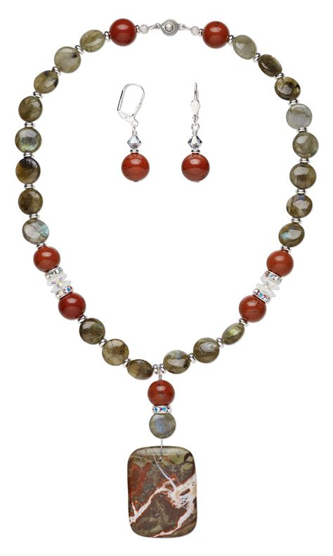 jewelry design single strand necklace and earring set