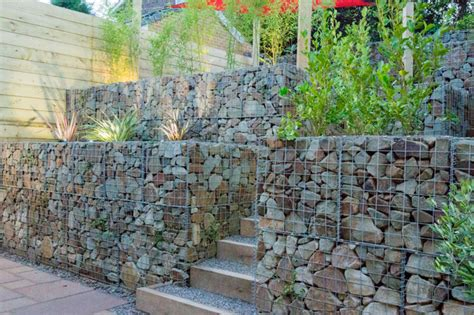 small garden with a very steep slope contemporary landscape