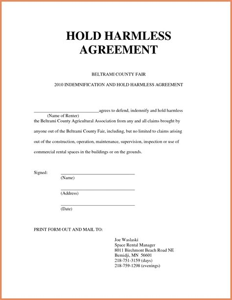 hold harmless agreement template hold harmless agreement sle letter format exle