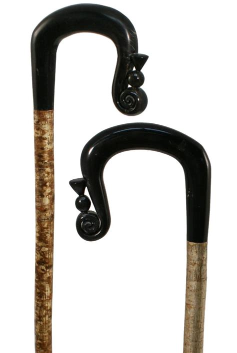 Handmade Shepherds Crooks - carved buffalo horn shepherds crook with thistle on a