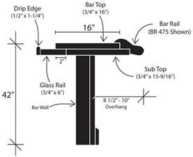 Width Of A Bar Top standard bar dimensions specifications diy commerical hardwoods incorporated