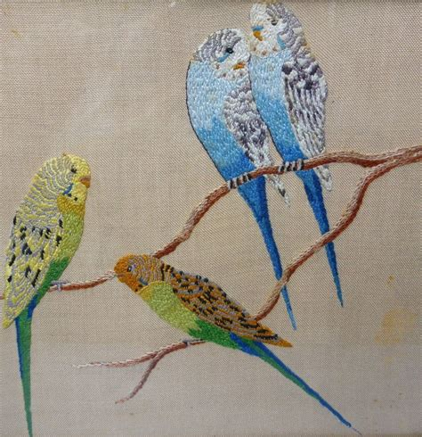 melbourne designs budgie and vintage embroidered budgies budgie