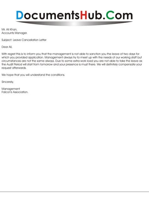 letter of cancellation of annual leave leave cancellation letter from employer documentshub