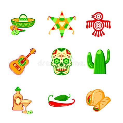 mexican icons stock vector illustration of culture