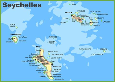 on the map seychelles tourist map