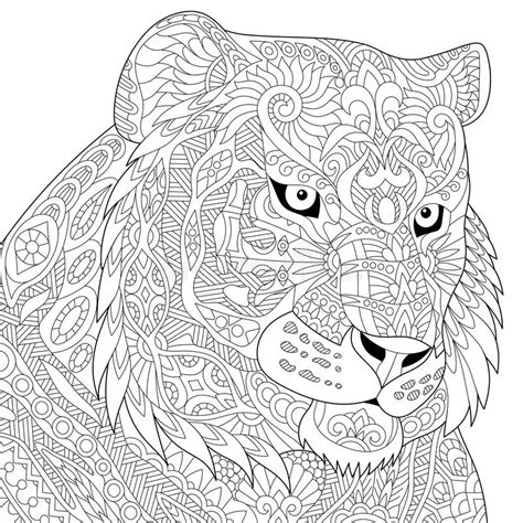 deb s doodle do coloring book two books zentangle stylized tiger stock vector image of design