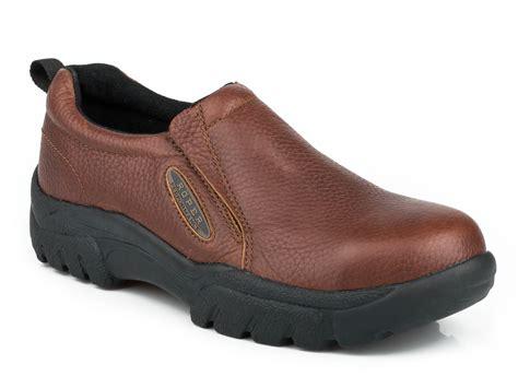 steel toe loafers roper slipon mens brown leather steel toe performance