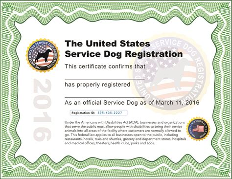 certification for service dogs exle service certificate free official therapy registration kits