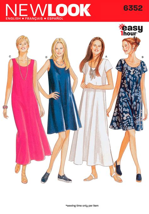 sewing patterns uk plus size new look pattern nl6352 misses dress easy jaycotts co