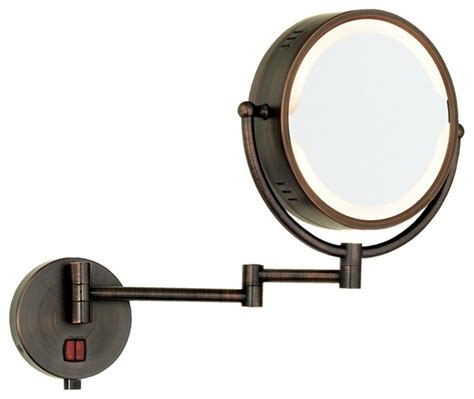 Swing Arm Bathroom Mirror Rubbed Bronze Swing Arm In Lighted Vanity Mirror Contemporary Makeup Mirrors