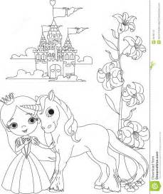 beautiful princess unicorn coloring royalty free stock photo image 18765175