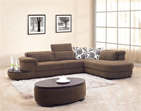 coffee tables for sectionals brown fabric modern sectional sofa w matching coffee table