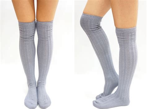knit knee high socks stripe knit knee high socks light grey on luulla