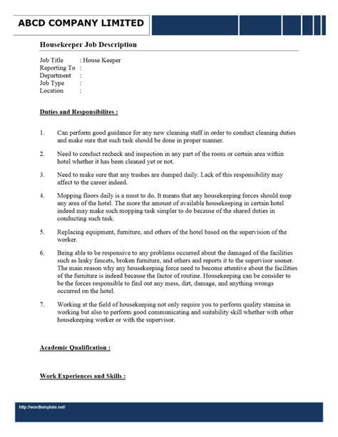 Resume Job Description For Housekeeping by Housekeeper Job Description Freewordtemplates Net