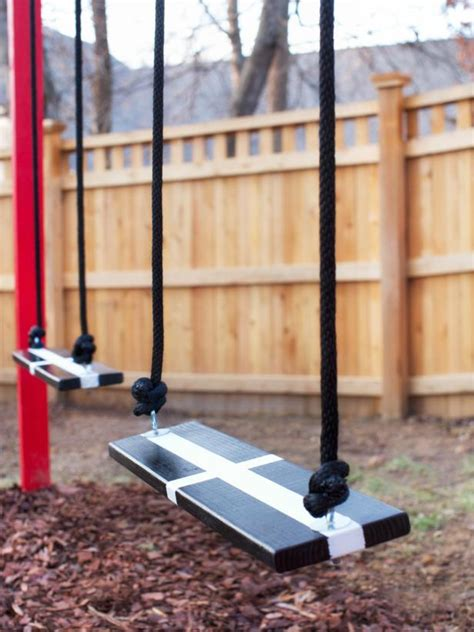 diy swing set frame how to build a wooden kids swing set hgtv