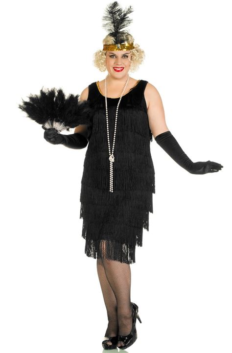 womens rag time flapper black costume wholesale 20s 1920 s flapper plus size costume long black flapper costume