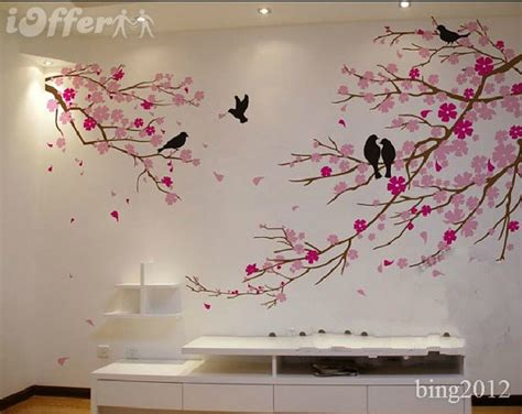 wall stickers cherry blossom tree wall cherry blossom with birds wall decal tree