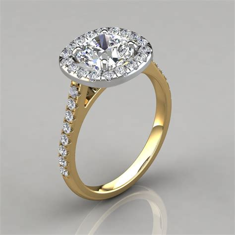 Yellow Gold Halo Engagement Rings Brilliant And by Floating Halo Cushion Cut Gold Engagement Ring