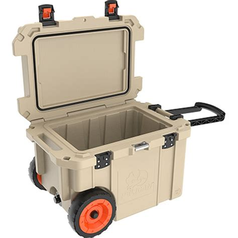 heavy duty coolers with wheels pelican 45 qt elite cooler with wheels tan lowest prices