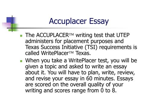 Accuplacer Essay Exles by Ppt Accuplacer Writing Test Powerpoint Presentation Id 207460
