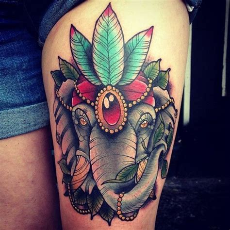 elephant thigh tattoo 20 elephant tattoos on thigh for girls