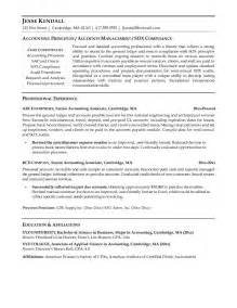 Sle Of Resume For Accountant by Summer Accounting Resume Sales Accountant Lewesmr