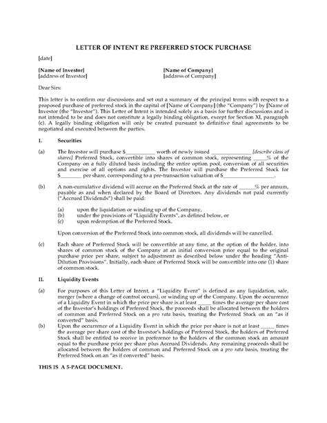 Letter Of Intent To Purchase Shares usa letter of intent to purchase preferred stock forms and business templates megadox