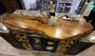Kitchen Butcher Block Island Live Edge Wood Countertop Of English Wych Elm In Medina Ohio