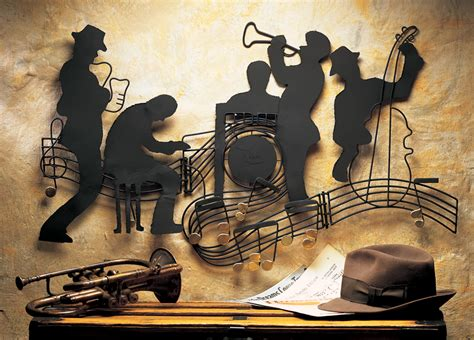 music themed home decor jazzin quintet music theme metal hanging wall art jazz