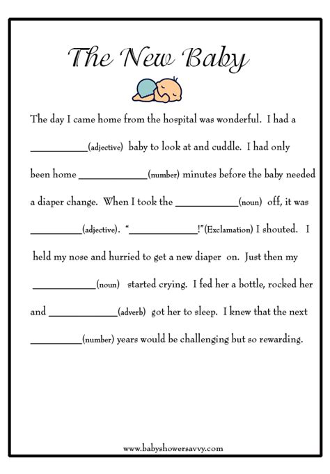 Mad Libs Baby Shower Printable by Baby Shower Mad Libs