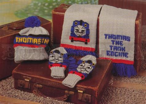knitting pattern hat scarf mittens vintage thomas the tank engine hat scarf mittens