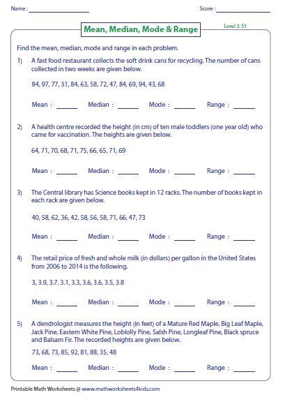 mean median mode and range worksheets