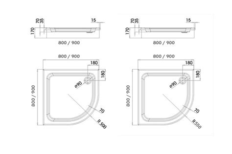 bidet zeichnung duschwanne viertelkreis duschtasse tr 228 ger ablauf 80x80